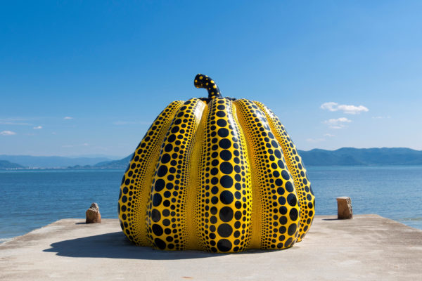 Giant pumpkin sculpture on Naoshima Island