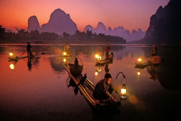 Night Fishermen on the Li  River, China