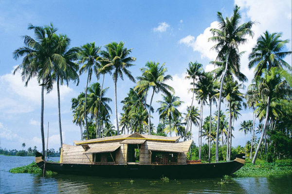 Board a ricebarge through the Keralan backwaters