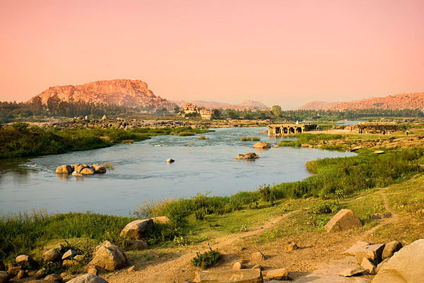 Hampi River And Temple