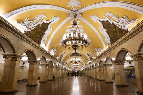 The ornate Moscow metro station