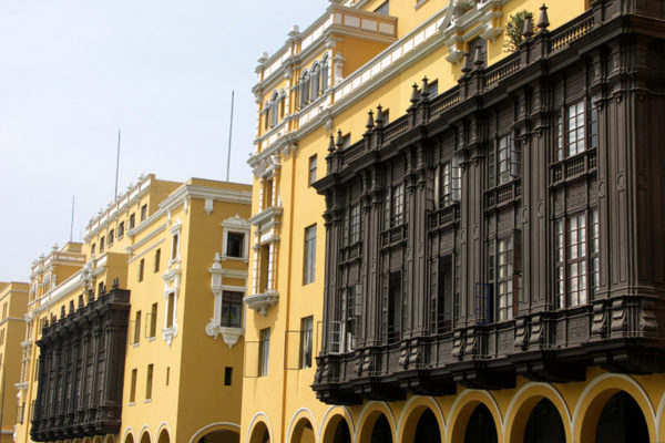 Ornate balconies In Lima