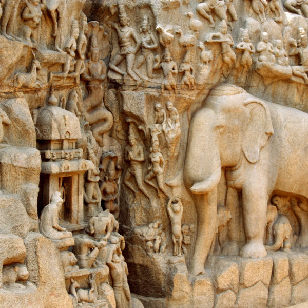 The famous bas reliefs of Mahabalipuram