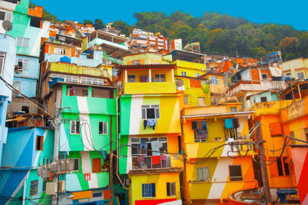 The brightly coloured houses of the favela, Rio