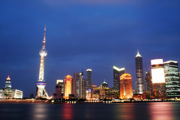 The modern day neon splendour of the Pudong in Shanghai