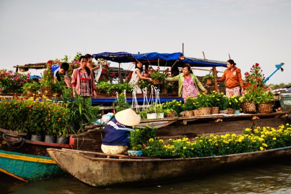 Flower Sellers at Cai Be Floating Market