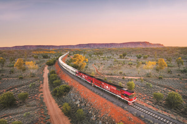 The Ghan with the MacDonnell Ranges in view