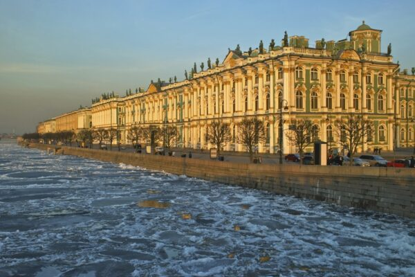 The Hermitage and a frozen River Neva