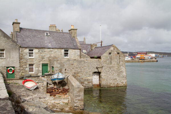A famous lodberries (a hotel and houses built into the sea) in Lerwick