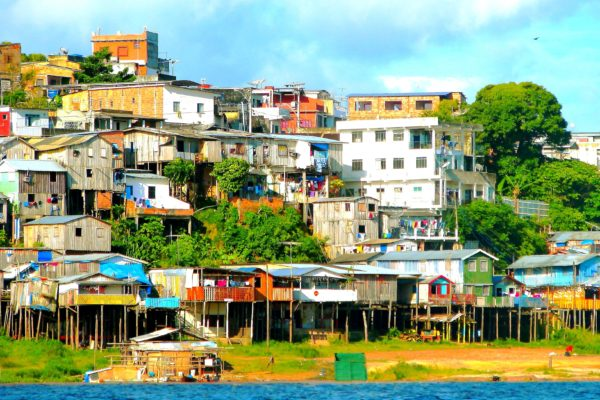 Houses on the river in Manaus