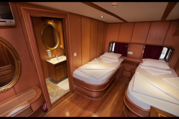 A cabin on board the gulet